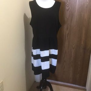 Black Dress w/ white stripes